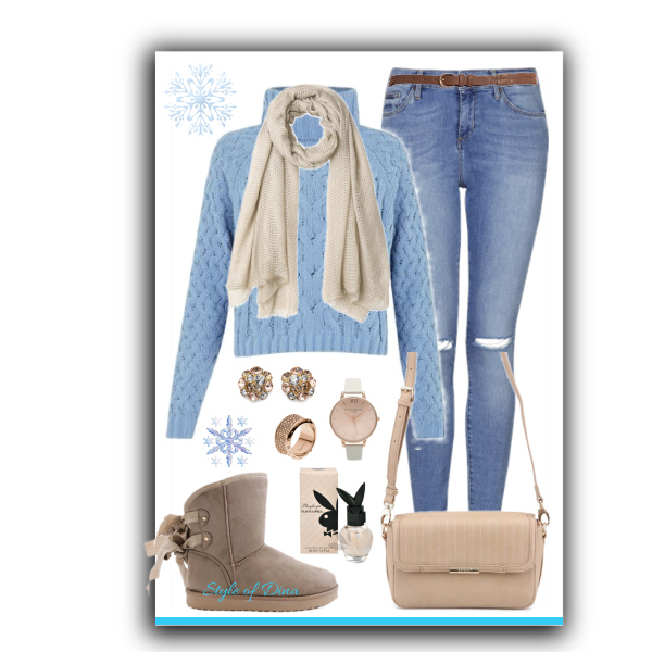 Béžovo modré tóny zimy