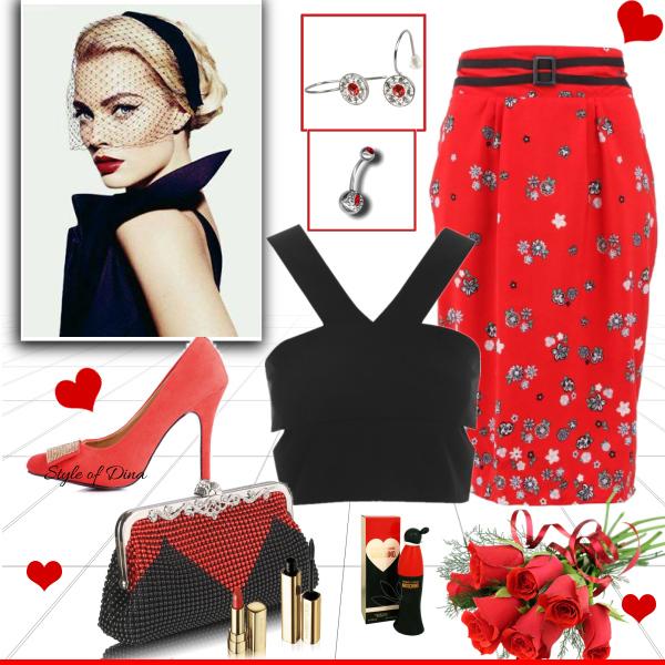 Černo červená valentýnská