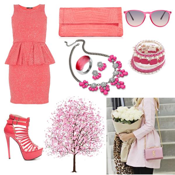 pink peplum set