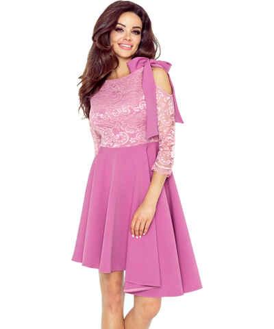 Růžové společenské šaty s mašlí - Glami.cz 95b219bb29