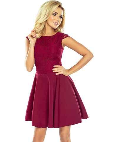 Vínové mini šaty s krajkou - Glami.cz b85824dddd