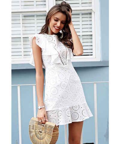 24720c4b0792 Bílé šaty s krajkou