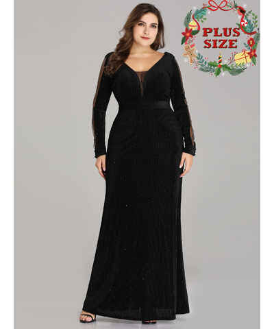 a2a77c59f54 Černé šaty s flitry s dlouhým rukávem - Glami.cz