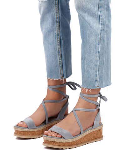b2987f5fee4e Modré Dámske sandále na podpätku