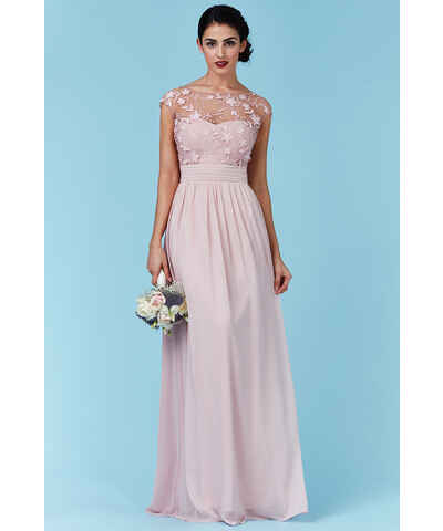Růžové šaty s dlouhým rukávem  0c9b754177