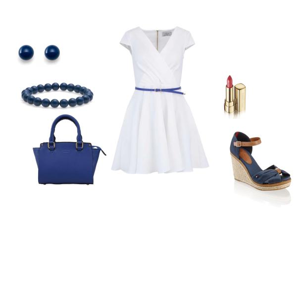 Letní lehký set modrobílý