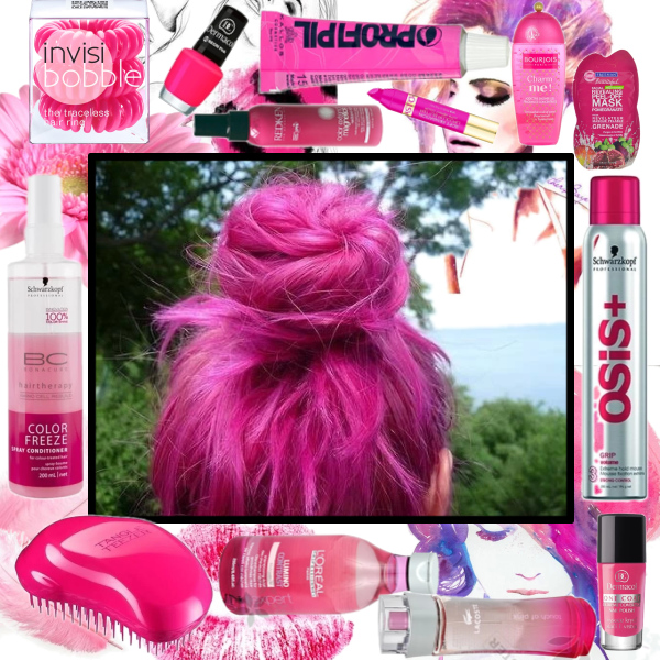 Pink hair, cosmetics