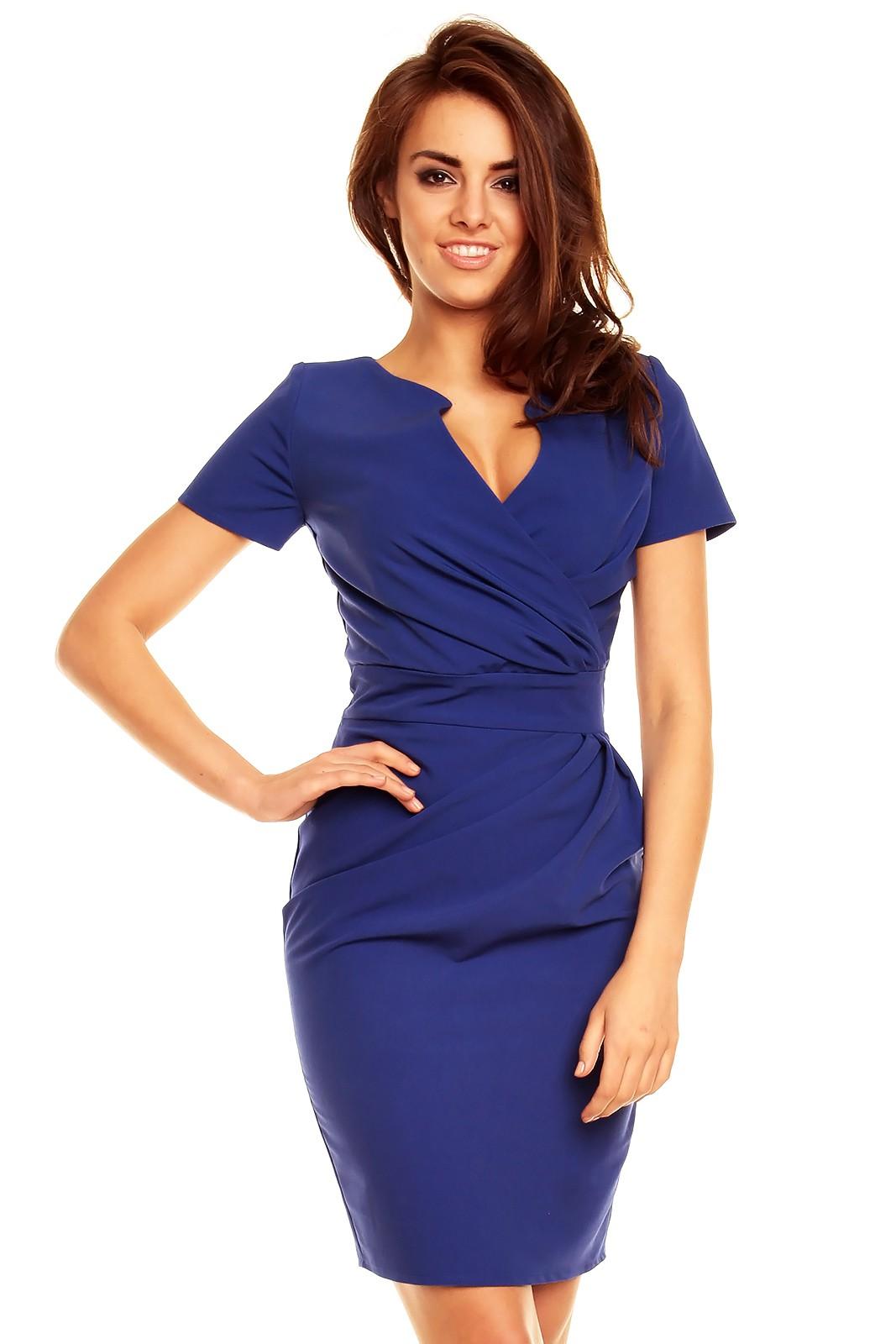92bdec1e646b KARTES MODA šaty dámské KM56 s obálkovým výstřihem modré - Glami.cz