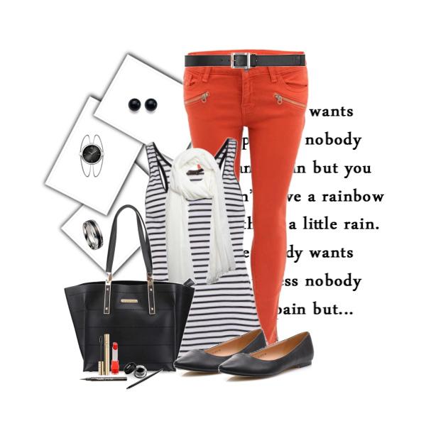 jak nosit barevné kalhoty