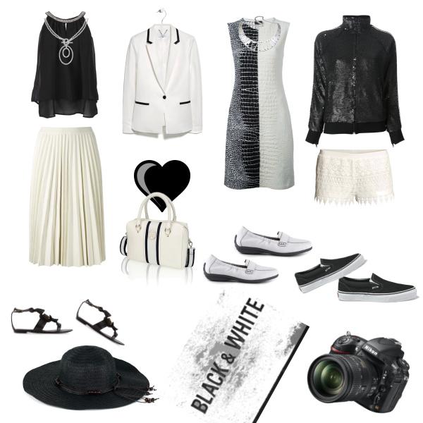 černo-bílá kombinace