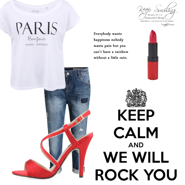 boyfriend jeans and red