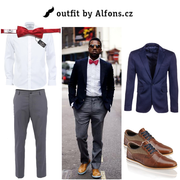 Pánský outfit do města - Červený motýlek, modrý blazer & bílá košile