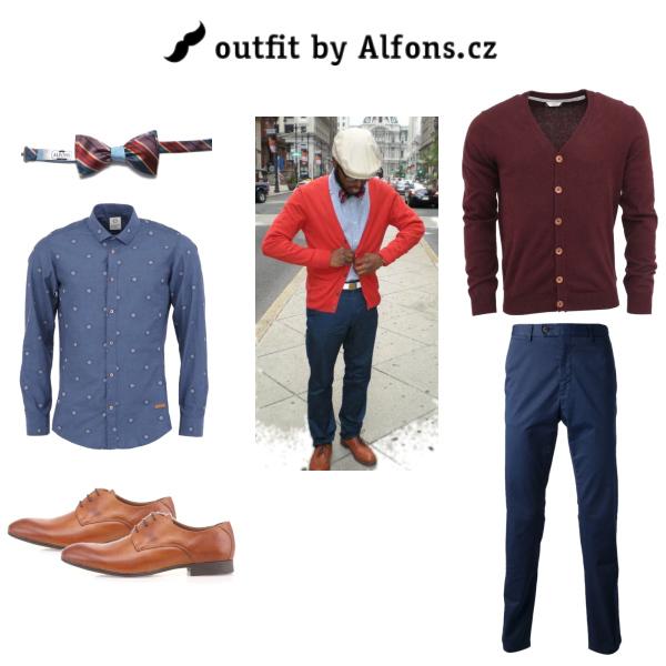 Pánský outfit v barvách červená/vínová