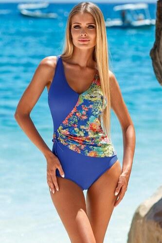 Dámské jednodílné plavky L 4095 7 - Lorin - Modrá - květy 40 80D ... e870158be4