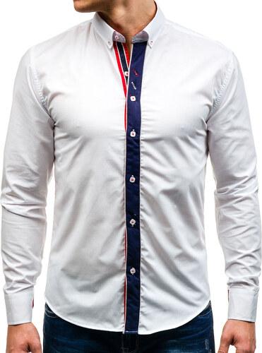 be82f670bf16 Biela pánska elegantná košeľa s dlhými rukávmi BOLF 5827-1 - Glami.sk