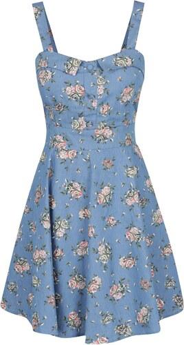 76364290efac Modré květované šaty s mašlí na zádech Apricot - Glami.cz