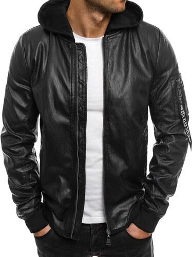 Adrexx Čierna pánska kožená bunda s odopínacou kapucňou a dekorovaným  zipsom na rukáve 2698 dabd7953bcb