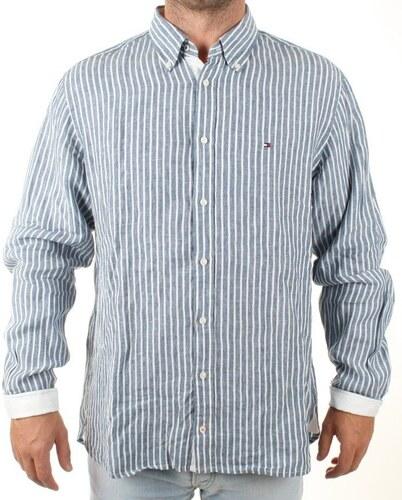 Tommy Hilfiger pánská bílo-modrá pruhovaná košile Linen - Glami.cz 7a45041611
