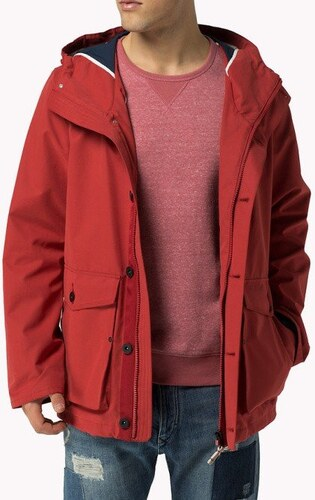 Tommy Hilfiger pánská červená bunda Bonded - Glami.sk 88d299204bc