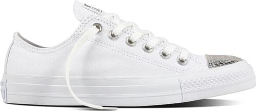 Converse nízké bílé tenisky se stříbrnou špičkou CTAS OX White Silver 9d1c5f8b3ef