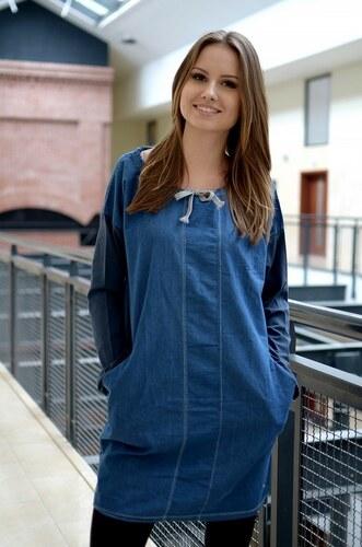4afb7b871575 SakoLife Džínsové šaty s viazaním vo výstrihu - Glami.sk