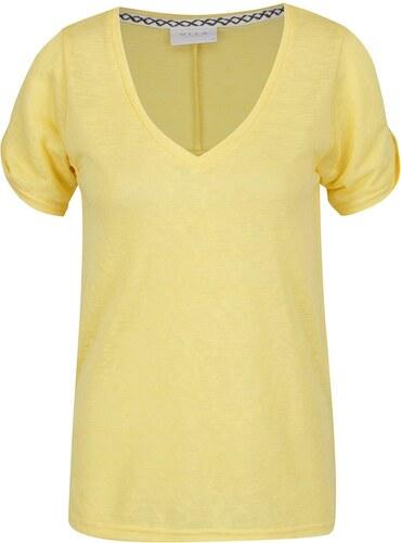 cb9c4482f93 Žlté voľné tričko s prestrihmi na ramenách VILA Uran - Glami.sk