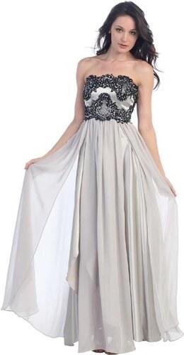 Glamor Luxusní dlouhé společenské šaty - stříbrné - Glami.cz 956b1f996a