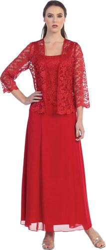 Glamor Červené dlhé spoločenské šaty s čipkovaným kabátikom - Glami.sk 51140cfe2ec