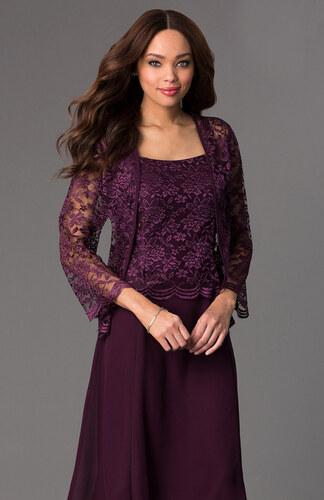 Glamor Krátke fialové spoločenské šaty s čipkovaným kabátikom - Glami.sk a039c993ed7