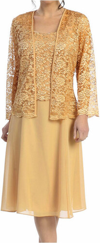 Glamor Krátke zlaté spoločenské šaty s čipkovaným kabátikom - Glami.sk e45f976275c