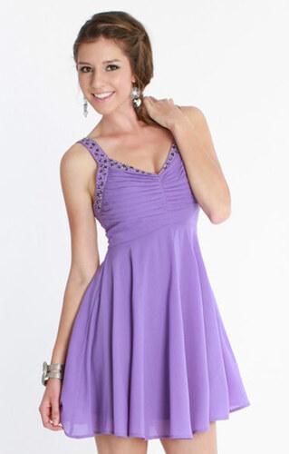 5a0165c1914e Glamor Krátke spoločenské šaty lila - Glami.sk