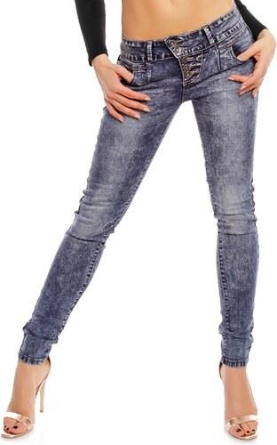 ddccc709985 Dámské šisované džíny s knoflíky - tmavě modré - Glami.cz