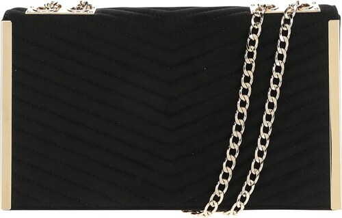 1dc47b91ae Čierna prešívaná crossbody kabelka lístoček v semišovej úprave Dorothy  Perkins