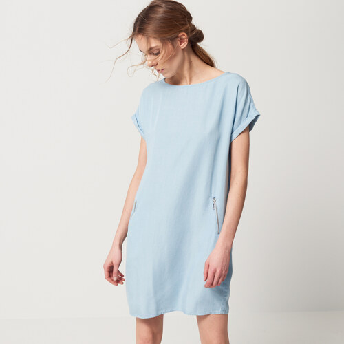 375c5ed0ef76 Mohito - Džínové šaty s kapsami - Modrá - Glami.cz