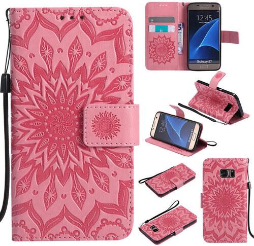 Flipové peněženkové SUNFLOWER pouzdro pro Samsung Galaxy S5 mini (SV G800)  - růžové 06bc70c715c