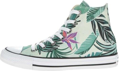 Zelené dámske členkové tenisky s tropickou potlačou Converse Chuck Taylor  All Star 02c762832d0