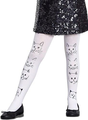 Bílé holčičí punčocháče s motivem koček měnící barvu na slunci Penti Enjoy  50 DEN d5c01c8973