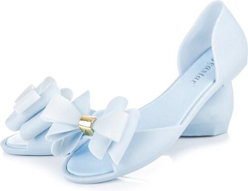 6ec948f96f46 Svetlo modré gumené sandále s veľkou mašľou - Glami.sk