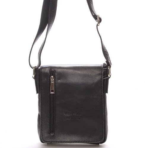 b039aea76b87 -10% Módna menšia čierna kožená kabelka cez rameno - ItalY Leroi čierna