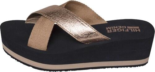 2bf791a78f5 Tommy Hilfiger bronzové pantofle na klínku SEASIDE 1D Rose Gold ...