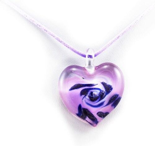 8e0a9f8ee Murano Náhrdelník skleněné srdce - kombinace barev - fialová, modrá -  Passione