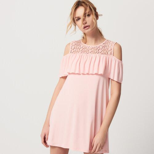 Mohito - Šaty s jednoduchým volánem - Růžová - Glami.cz 246559fce54