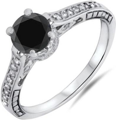 Eppi Zlatý zásnubní prsten ve vintage stylu s černým diamantem Denica 3b3a12f6126