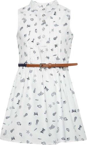 d9d3dfb179f0 Biele vzorované dievčenské šaty s opaskom Bóboli - Glami.sk