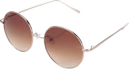 Haily´s Hnedé okrúhle slnečné okuliare s obrúčkami v ružovozlatej farbe  Haily s Trisha 0b867775d92