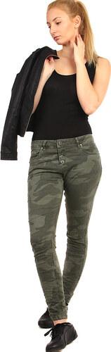 TopMode Dámské úzké kalhoty s army potiskem (tmavě zelená e0f307374b