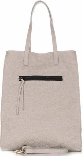 -16% VITTORIA GOTTI Univerzální Velká kožená kabelka XL Shopper Světle šedá e0c0935e90b