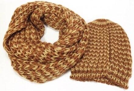 734d55a74b1 Zimní pletená tunelová šála a čepice hnědo-béžové barvy