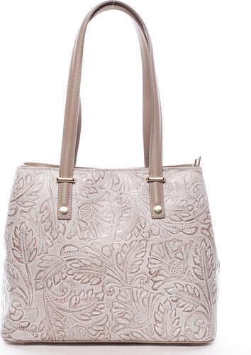 005a43e012 Exkluzivní dámská kožená kabelka taupe - ItalY Logistilla Taupe ...