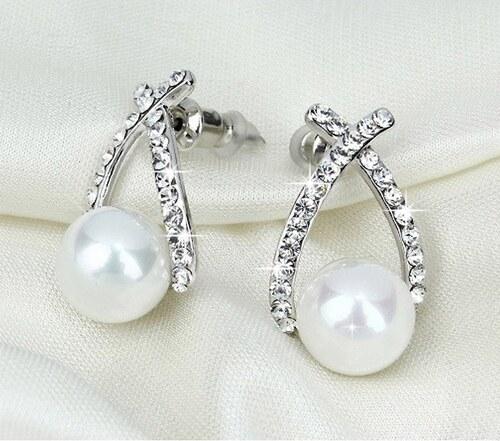 CHM Náušnice kapky s perlou Bílá - Glami.cz 387dc43701d